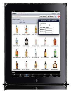 iPad ordering app for wine & spirits
