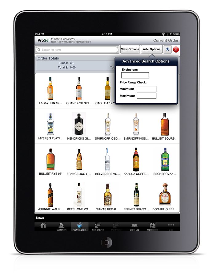 iPad ordering app for wine & spirits