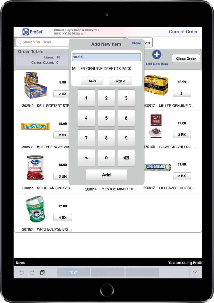 Local Sales Apps >> Prosel Mobile Order Taking App For Ipad Ai2